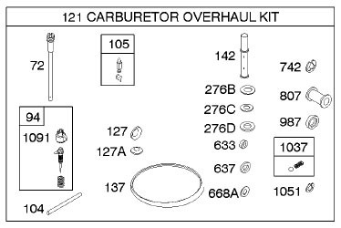GENERAC CARB REPAIR KIT FOR 073112B
